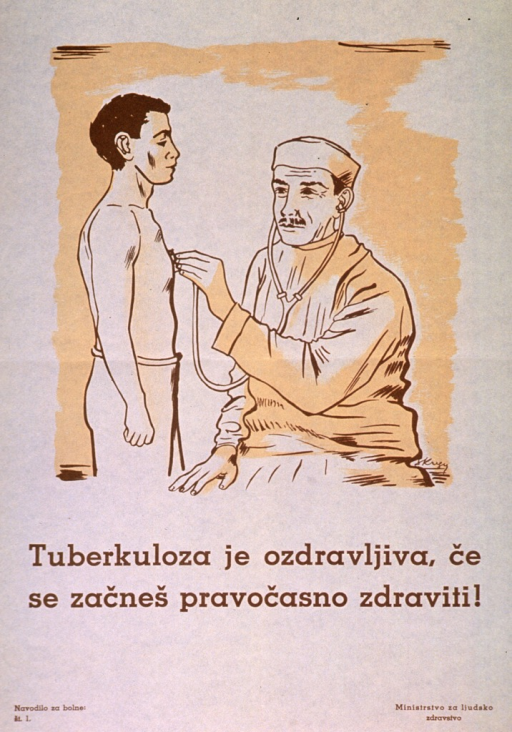 <p>Off-white poster with brown lettering.  Visual image is an illustration of a doctor using a stethoscope on a man's chest.  Title below illustration.  Series statement in lower left corner.  Publisher information in lower right corner.</p>
