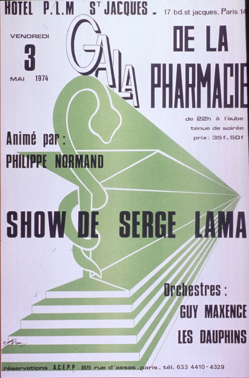 <p>White and green poster with white and black lettering.  Location of gala listed at top of poster.  Title below location.  Additional text on poster provides date, time, and lists some performers.  Visual image is an illustration of a snake coiled around a goblet, perched atop several steps.  Note superimposed on illustration appears to announce the main performer.  Text at bottom of poster directs reservations to the A.C.E.P.P., which may be a pharmacy student society.</p>