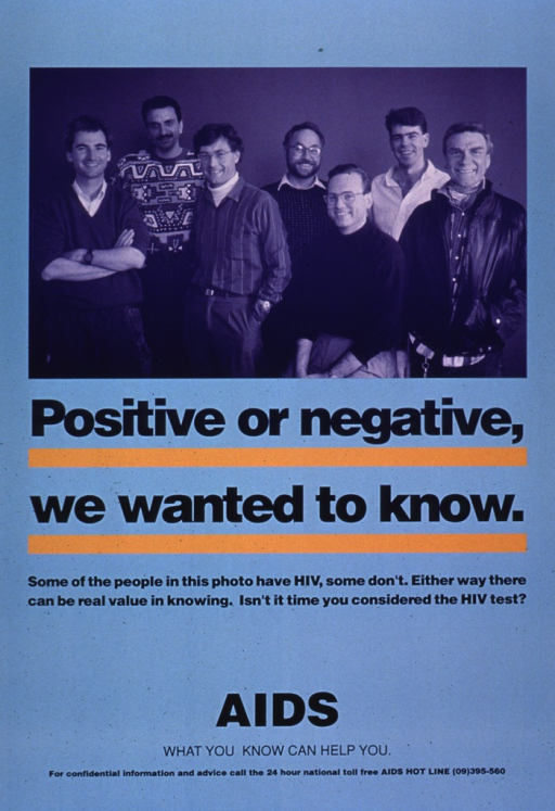 <p>Light blue poster with dark blue print. The visual is a photo reproduction of a group of seven men, representing various ethnic backgrounds. A hotline number for New Zealand and additional phone number are listed for further information.</p>