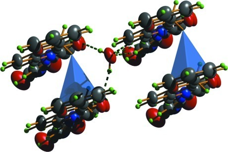 Graphical representation showing C–H···π interaction in the crystal structure of C21H17N3O5.H2O.