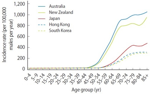 Age-specific incidence rates for prostate cancer, selected countries, 2003–2007. Data from: Australia, Australian Institute of Health and Welfare [9]; Hong Kong, Hong Kong Cancer Registry [10]; Japan, Center for Cancer Control and Information Services [11]; New Zealand, Ministry of Health [14]; South Korea, Korea Central Cancer Registry [15].