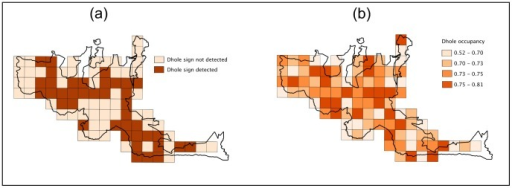 Dhole habitat-use patterns.Patterns of reserve-scale occupancy: habitat-use by dholes in Bandipur Tiger Reserve, India (2012). (a) Naïve estimate from presence-versus-absence approach and (b) estimated probabilities of occupancy.