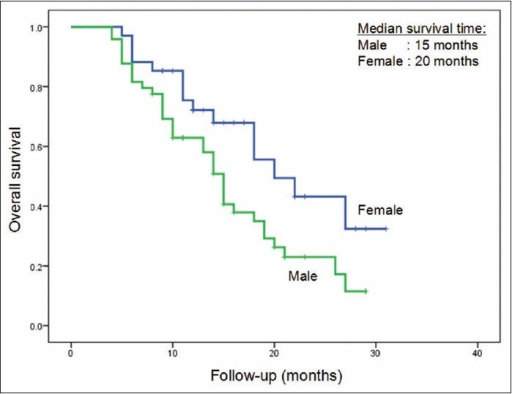 Overall survival curves based on gender