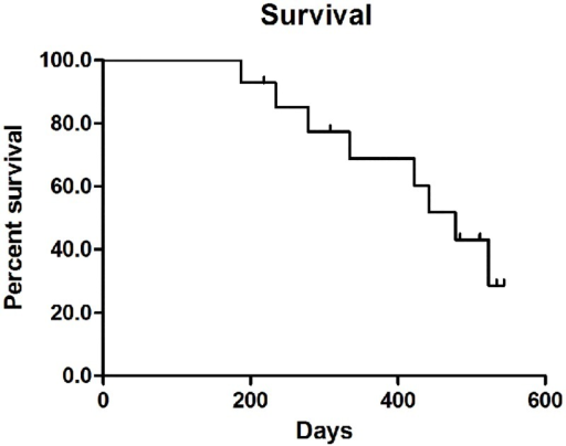 Survival curve for the intraductal RFA followed by locoregional tumor treatments as treatment for occluded biliary stents in malignant biliary obstruction.