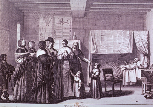 <p>Shows a patient in bed with visitors entering the room.</p>