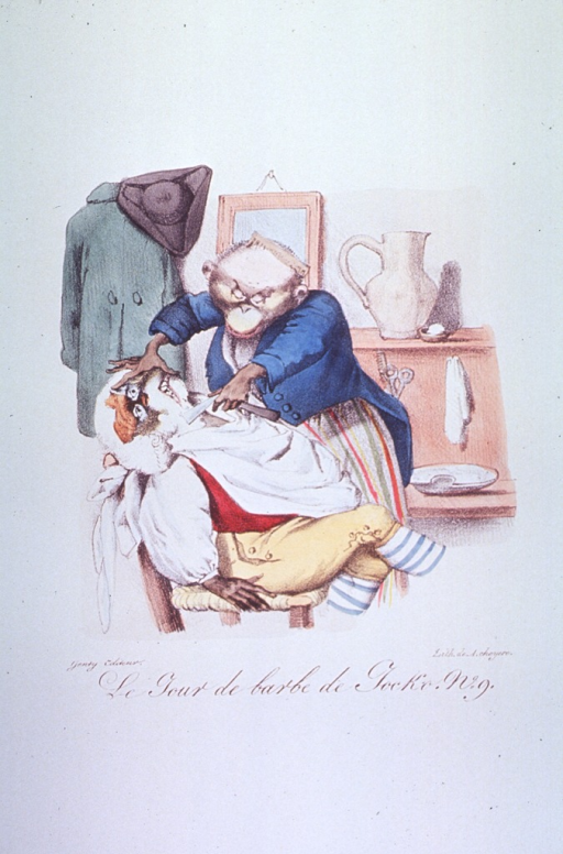 <p>Caricature on barbers:  Animal figures used to represent a barber and his customer.  The lathered face of the customer seated in a chair is forced back by the barber's right hand, his left hand holds a straight razor to the customer's neck.</p>