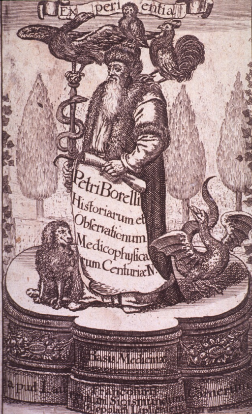 <p>Standing, on throne, with caduceus and other symbolical emblems, holding scroll, reading.  Inscription:  Historiarum et observationum medicophysica....</p>