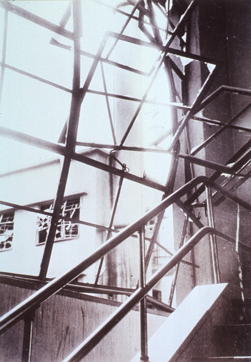 <p>Broken window frames at the Japan Red-Cross Hospital, Hiroshima, (1600 meters).  Direction of pressure wave indicated by bulging of window frames.  Jagged fragments of glass produced many of the injuries, particularly in these concrete buildings.</p>