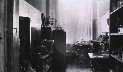 <p>The interior of the laboratory in a German Red Cross Hospital.</p>