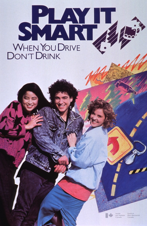 <p>White poster with blue and gray lettering.  Title at top of poster.  Logo-style illustration next to title features a car key separated from a beer mug.  Dominant visual image is a reproduction of a color photo of three young adults.  The photo is superimposed on a colorful montage of traffic and drinking symbols, including a road sign, a map, a pull-tab from a beverage container, and a bottle.  Publisher information in lower right corner.</p>