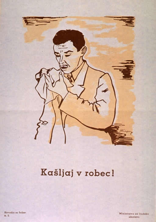 <p>Off-white poster with brown lettering.  Visual image is an illustration of a man raising a handkerchief to his open mouth.  Title below illustration.  Series statement in lower left corner.  Publisher information in lower right corner.</p>