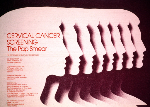 <p>Pink and purple poster with the silhouette profile of eight women, partially overlapping each other.  The print is in red and a phone number for further information is given.</p>
