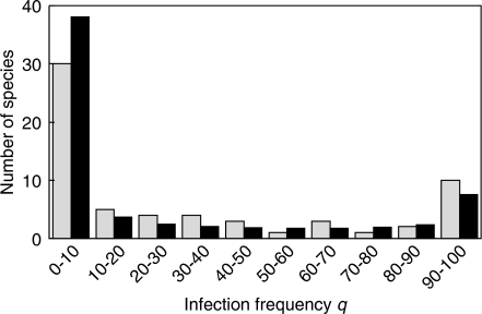 Numbers of species with infection densities in the particular intervals. Gray bars describe the observations made in samples with sample size nj≥22. The black bars indicate the number of species expected based on B(iii). The value of the χ2- statistic is 8.4 (<14, error probability 5%), thus we can accept this distribution as an underlying density function. Here, also B(i) could be accepted, whereas B(ii) had to be rejected.