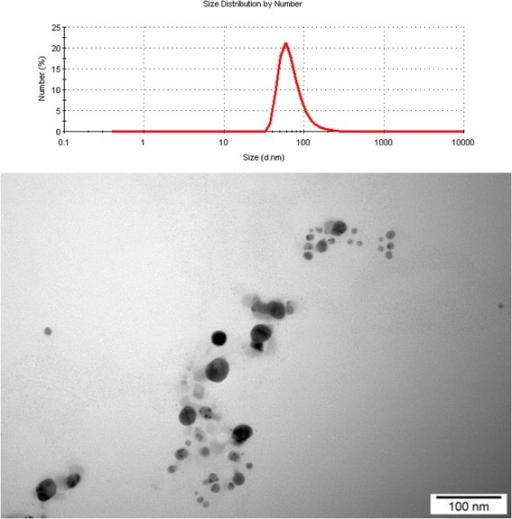 Size distribution and TEM image of silver nanoparticles.