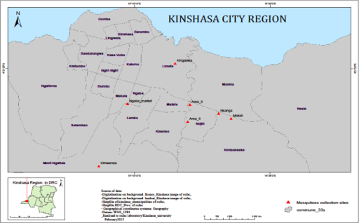 Map of Kinshasa showing the mosquito sampling locations. Adult mosquitoes were collected from Kimwenza (Mount Ngafula municipality), Kingabwa (Limete municipality), Area 8 and 9 (Ndjili municipality), Nsanga and Mokali (Kimbanseke municipality), and Ngaba market (Ngaba municipality). The insert shows the location of Kinshasa City in the Democratic Republic of the Congo.