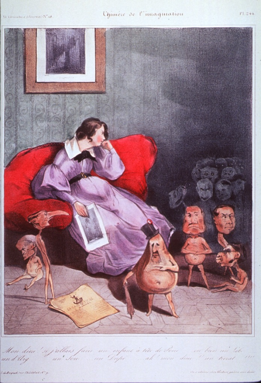 <p>A pregnant woman sitting in an overstuffed chair appears to be having delusions as a parade of infant figures with heads of French personages emerges from the background.</p>