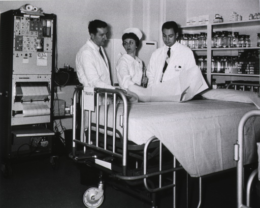 <p>Interior view, opening of trauma center, March 1966.  Left to right, Dr. Robert Freeark, Mrs. Norma Shoemaker and Dr. Robert Baker.</p>
