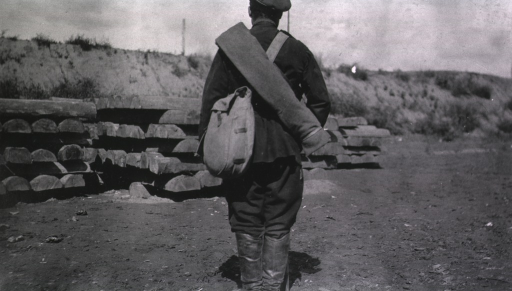 <p>A back view of a Russian soldier's uniform.</p>