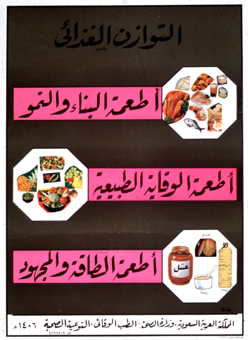 <p>Gold and pink poster with black lettering.  All text in Arabic script.  Text dispersed throughout poster.  Visual images are three collages constructed from color photo reproductions.  The collages feature food groups: proteins, fruits and vegetables, miscellaneous (including grains, beverages, and perhaps fats).</p>