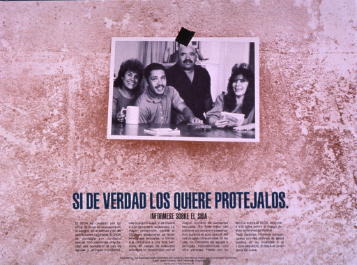 <p>Predominantly brown-tone poster with green and black lettering.  Visual image is a b&amp;w photo reproduction featuring a four-member family.  Title below photo.  Lengthy text below title explains AIDS, how it is transmitted, and steps for prevention.  Publisher and sponsor information at bottom of poster.</p>