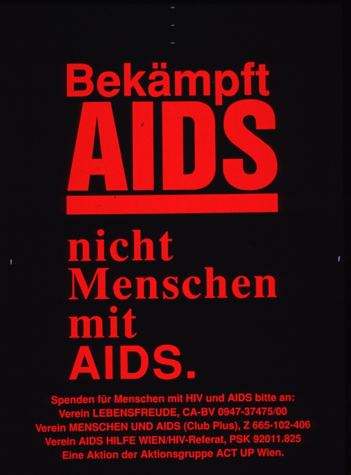 <p>Predominantly black poster with red lettering.  Poster is all text, dominated by title.  Request for donations to three AIDS serivce organizations below title.  Publisher information at bottom of poster.</p>