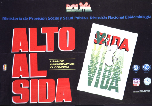<p>The word vida ladders up to the word SIDA.  A cartoon condom paints a &quot;v&quot; over the &quot;s&quot; in SIDA.</p>
