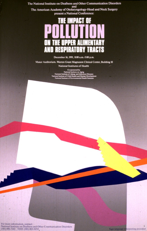 <p>The poster is in shades of gray with an abstract design in gray, orange, blue, yellow, and pink.  The date (Dec. 16, 1991), time, and location for the meetings are given, along with a phone number and TDD number for further information.</p>