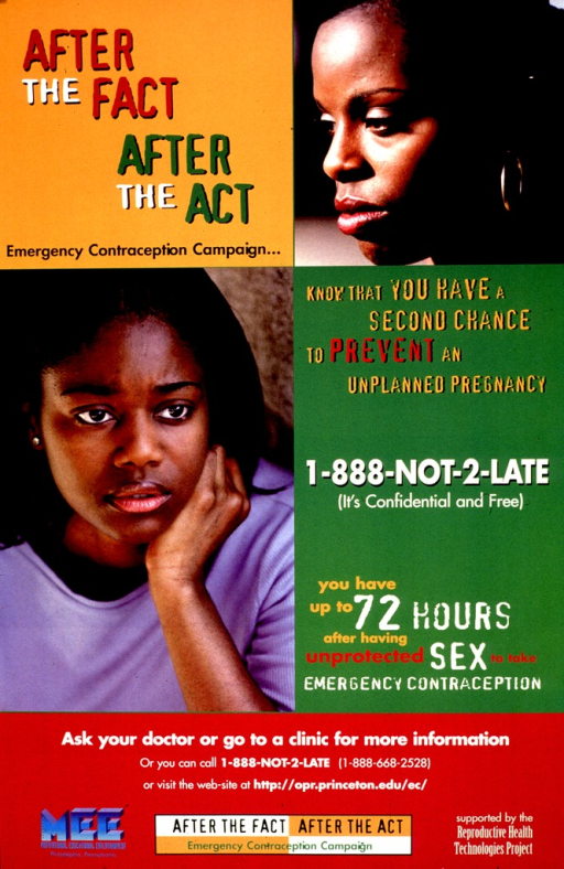 <p>Multicolor poster.  Title in upper left corner.  Visual images are color photo reproductions featuring young women, one in profile and one facing forward.  Note on right side of poster.  Publisher and sponsor information at bottom of poster.</p>