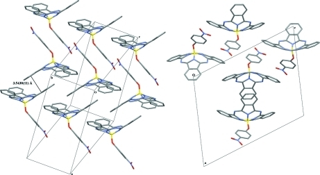 Extended crystal structure of NO2PhO-BsubPc shown from two views.