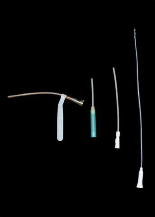 A range of single use catheters, and a catheter holder for patients having difficulties with fine finger coordination.