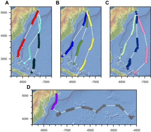 Trans-oceanic juvenile osprey migration track maps (Mercator Projection).Colors correspond with individual ospreys (pink  =  Belle; red  =  Felix; yellow  =  Moffet; light green  =  Henrietta; green  =  Bea; dark green  =  Luke; light blue  =  Caley; royal blue  =  Mittark; dark blue  =  Isabel; purple/gray  =  Chip). Symbols correspond with different constant course track segments identified by piecewise linear regression breakpoint analysis (circles  =  first track segment following departure; triangles  =  second track segment; addition symbols  =  third track segment; diamonds  =  fourth track segment). Only the trans-oceanic portion of each bird's migration is shown. Gray addition symbols correspond with Chip's movements following his first night aloft, presumably when he was resting on or in contact with one or more vessels (see text). Northing and Easting values are shown in kilometers.