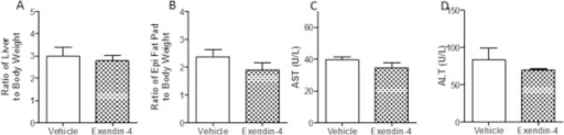 Peripheral exendin-4 does not alter liver or fat pad weight in an intervention treatment strategy. Hamsters underwent the intervention study and plasma and tissue was collected from vehicle and exendin-4 hamsters after a 5 h fast. (A) Liver and (B) epididymal fat pad weight. (C) Plasma AST and (D) ALT following a 5 h fast. n = 5–7. Analyzed by Student's unpaired t-test.