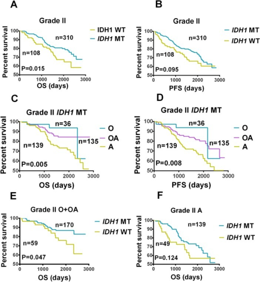 Kaplan-Meier Analysis of Overall Survival and Progression-free Survival in Patients with IDH1-mutated and Wild-type Gliomas.Comparison of (A) overall survival (OS) and (B) progression-free survival (PFS) between patients with IDH1-mutated (IDH1 MT) and wild-type (IDH1 WT) grade II gliomas. Comparison of (C) OS and (D) PFS among patients with IDH1 MT grade II oligodendrogliomas (O), oliogoastrocytomas (OA), and atrocytomas (A). (E) A comparison of OS between patients with IDH1 MT or IDH1 WT grade II O or OA. (F) A comparison of OS between patients with IDH1 MT or IDH1 WT grade II As.
