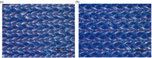 Microscopic view of two textile electrodes: (a) the dry textile electrode; (b) the wet textile electrode.