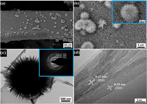 Microstructural exploration of the chestnut bur-like structures of MnCo2O4 formed on Ni foam.(a) low and (b) high magnification FE-SEM images; (c) TEM image and SAED pattern; (d) HR-TEM image.