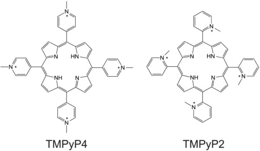 Molecular structures of TMPyP4 and TMPyP2.