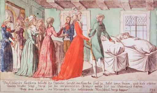 <p>Interior ward scene, where the Kaiserin and her retinue prepare to feed some patients.</p>