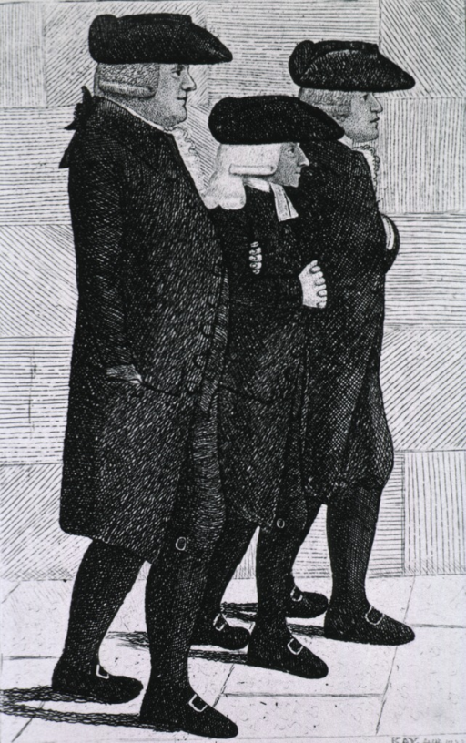 <p>Full length, right profile, walking arm-in-arm with John Wesley and Joseph Cole.</p>