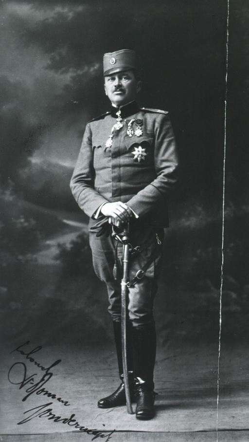 <p>Standing, full length, hands clasped on sword; in uniform of Colonel.</p>
