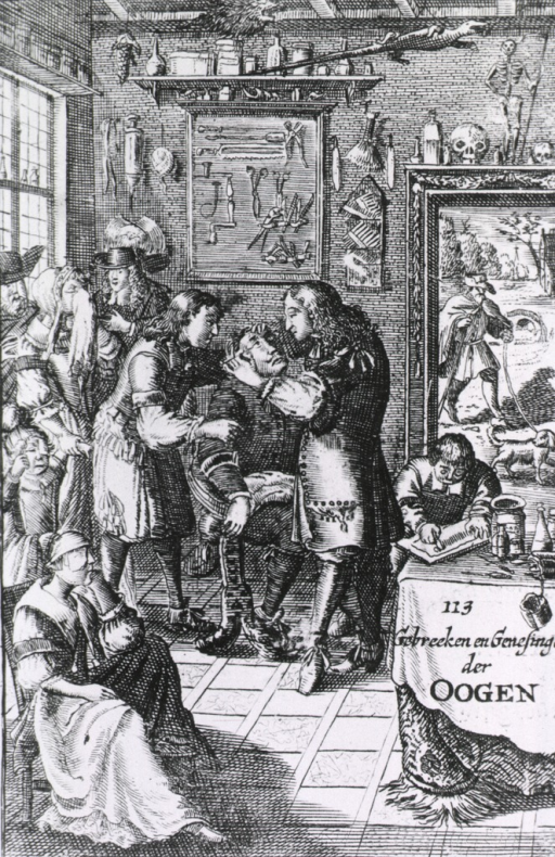 <p>A surgeon at work in his office while several other patients wait their turn.  Surgical instruments and symbols hand on the wall, including a saw, skull, a skeleton, and a salamander.</p>
