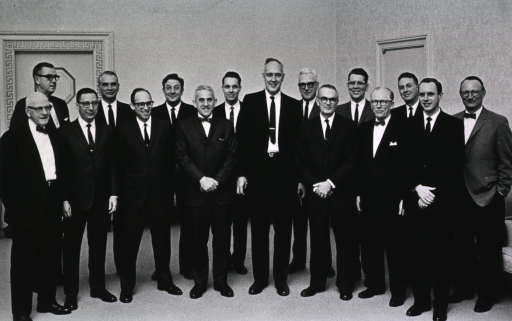 <p>Group photo showing Surgeon General William H. Stewart and fourteen of the twenty NIH staff members honored at the DHEW Honor Awards Ceremony.</p>
