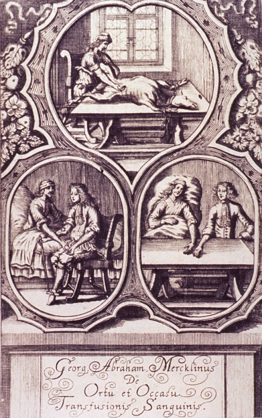 <p>Vignettes, in decorative oval borders, showing blood transfusions from animal to human; and from a healthy person and a sick person, arm to arm; and hand to hand.</p>
