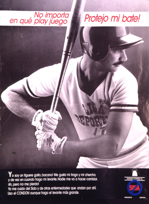 <p>A man in a baseball uniform is in a batter's stance.</p>