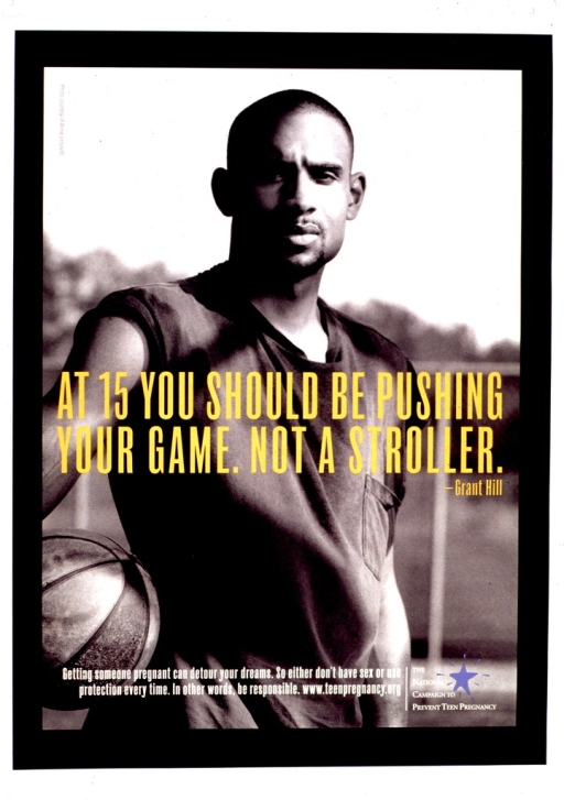 <p>Predominantly black &amp; white poster with gold and white lettering.  Poster features a reproduction of a b&amp;w photo of basketball star Grant Hill.  Title superimposed on center of poster.  Caption and publisher information superimposed on bottom of poster.</p>