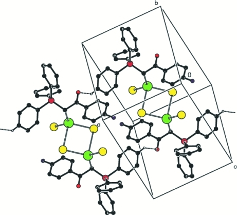 The packing and intermolecular hydrogen bonding interactions of the title compound.