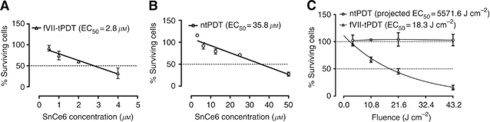 Factor VII (fVII) targeting enhances the effect of SnCe6 PDT, and fVII-tPDT is effective in eradicating MCF-7/MDR cancer cells. (A and B) The EC50 of SnCe6 was 2.8 and 35.8 μ in fVII-tPDT and ntPDT (18 J cm–2, laser fluence) for MCF-7/MDR cells, respectively. (C) MCF-7/MDR cells had a laser fluence-dependent response to fVII-tPDT (2 μ SnCe6) but had no response to ntPDT (2 μ SnCe6).