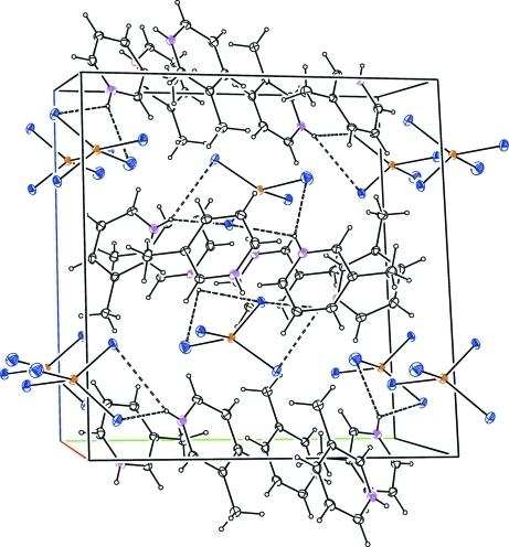 Crystal structure of viewed normal to (1 0 0), showing the N—H···Cl hydrogen bonds as dashed lines.