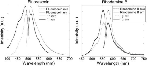 Excitation and emission spectra of aqueous solutions of (left) fluorescein and silica nanoparticles doped with fluorescein 1 h, and (right) rhodamine B and silica nanoparticles doped with rhodamine B 1g.