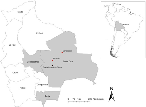 Locations of reported cases of hantavirus pulmonary syndrome and field studies associated with the 2002 outbreak in Bolivia.The two index cases reported here were from Mineros and Concepción. The capital city of Santa Cruz is indicated by a star. Laboratory-confirmed hantavirus infection in humans and rodents has been reported from Santa Cruz, Tarija, and Cochabamba Departments, shown in gray.