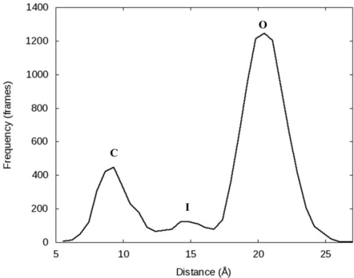A histogram of the Pro699-Arg629 α-C distances for the 1.0 µs simulation (10,000 frames total) of PDB 1LV5 performed with Desmond using the Charmm27 force field.The histogram clearly shows three distinct conformations were sampled: closed (C), open (O), and the newly observed intermediate (I) state.